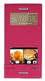 Eiroo Phantom HTC Desire 728G Gizli Mıknatıslı Pencereli Pembe Deri Kılıf