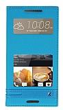 Eiroo Phantom HTC Desire 828 Gizli Mıknatıslı Pencereli Mavi Deri Kılıf