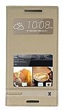 Eiroo Phantom HTC Desire 828 Gizli Mıknatıslı Pencereli Gold Deri Kılıf