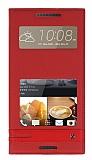HTC Desire 828 Gizli Mıknatıslı Pencereli Kırmızı Deri Kılıf
