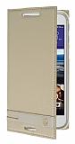 HTC Desire 830 Gizli Mıknatıslı Yan Kapaklı Gold Deri Kılıf
