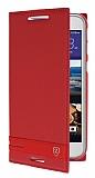 HTC Desire 830 Gizli Mıknatıslı Yan Kapaklı Kırmızı Deri Kılıf