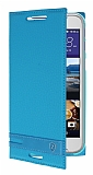 HTC Desire 830 Gizli Mıknatıslı Yan Kapaklı Mavi Deri Kılıf
