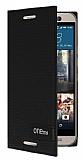 Eiroo Phantom HTC One M9 Gizli M�knat�sl� Yan Kapakl� Siyah Deri K�l�f