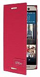 Eiroo Phantom HTC One M9 Gizli M�knat�sl� Yan Kapakl� Pembe Deri K�l�f