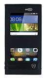 Huawei GR3 Gizli Mıknatıslı Pencereli Siyah Deri Kılıf