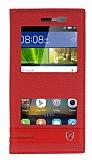 Huawei GR3 Gizli Mıknatıslı Pencereli Kırmızı Deri Kılıf