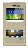 Huawei GR3 Gizli Mıknatıslı Pencereli Gold Deri Kılıf