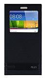 Huawei GR5 Gizli Mıknatıslı Pencereli Siyah Deri Kılıf