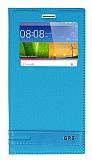 Huawei GR5 Gizli Mıknatıslı Pencereli Mavi Deri Kılıf