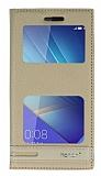 Huawei Honor 7 Gizli Mıknatıslı Pencereli Krem Deri Kılıf