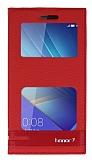 Huawei Honor 7 Gizli Mıknatıslı Pencereli Kırmızı Deri Kılıf