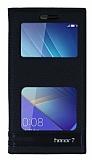 Huawei Honor 7 Gizli Mıknatıslı Pencereli Siyah Deri Kılıf
