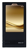 Huawei Mate 8 Gizli Mıknatıslı Pencereli Siyah Deri Kılıf
