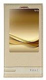Huawei Mate 8 Gizli Mıknatıslı Pencereli Gold Deri Kılıf