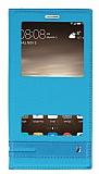 Huawei Mate 9 Gizli Mıknatıslı Pencereli Mavi Deri Kılıf