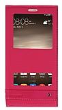 Huawei Mate 9 Gizli Mıknatıslı Pencereli Pembe Deri Kılıf