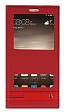 Huawei Mate 9 Gizli Mıknatıslı Pencereli Kırmızı Deri Kılıf