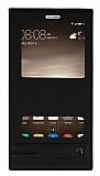 Huawei Mate 9 Gizli Mıknatıslı Pencereli Siyah Deri Kılıf