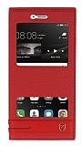 Huawei P9 Lite Gizli Mıknatıslı Pencereli Kırmızı Deri Kılıf