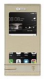 Huawei P9 Lite Gizli Mıknatıslı Pencereli Gold Deri Kılıf