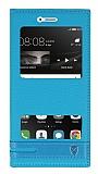 Huawei P9 Lite Gizli Mıknatıslı Pencereli Mavi Deri Kılıf