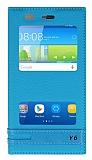 Huawei Y6 Gizli Mıknatıslı Pencereli Mavi Deri Kılıf