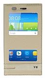 Huawei Y6 Gizli Mıknatıslı Pencereli Gold Deri Kılıf