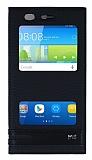 Huawei Y6 Gizli Mıknatıslı Pencereli Siyah Deri Kılıf