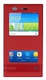 Huawei Y6 Gizli Mıknatıslı Pencereli Kırmızı Deri Kılıf