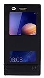 Huawei Y6 ii Gizli Mıknatıslı Pencereli Siyah Deri Kılıf