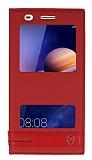 Huawei Y6 ii Gizli Mıknatıslı Pencereli Kırmızı Deri Kılıf