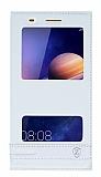 Huawei Y6 ii Gizli Mıknatıslı Pencereli Beyaz Deri Kılıf