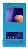 Huawei Y6 ii Gizli Mıknatıslı Pencereli Mavi Deri Kılıf