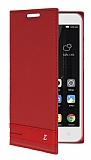 Lenovo A2010 Gizli Mıknatıslı Yan Kapaklı Kırmızı Deri Kılıf