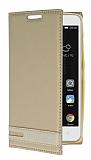 Lenovo A2010 Gizli Mıknatıslı Yan Kapaklı Gold Deri Kılıf