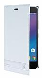 Lenovo K6 Note Gizli Mıknatıslı Yan Kapaklı Beyaz Deri Kılıf