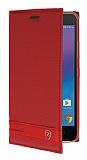 Lenovo K6 Gizli Mıknatıslı Yan Kapaklı Kırmızı Deri Kılıf