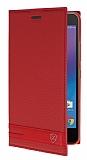 Lenovo K6 Note Gizli Mıknatıslı Yan Kapaklı Kırmızı Deri Kılıf