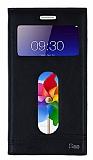 Eiroo Phantom Lenovo S60 Gizli Mıknatıslı Pencereli Siyah Deri Kılıf