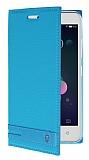 Lenovo Vibe C A2020 Gizli Mıknatıslı Yan Kapaklı Mavi Deri Kılıf