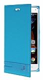 Lenovo Vibe K5 Gizli Mıknatıslı Yan Kapaklı Mavi Deri Kılıf