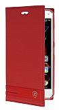 Lenovo Vibe K5 Gizli Mıknatıslı Yan Kapaklı Kırmızı Deri Kılıf
