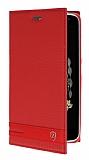 Lenovo Vibe K5 Note Gizli Mıknatıslı Yan Kapaklı Kırmızı Deri Kılıf