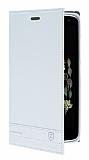 Lenovo Vibe K5 Note Gizli Mıknatıslı Yan Kapaklı Beyaz Deri Kılıf