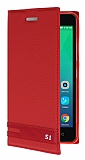 Lenovo Vibe S1 Gizli Mıknatıslı Kırmızı Deri Kılıf