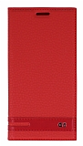 LG G5 Gizli Mıknatıslı Kırmızı Deri Kılıf