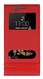 Eiroo Phantom LG K8 Gizli Mıknatıslı Pencereli Kırmızı Deri Kılıf