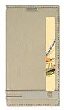 LG Stylus 2 / Stylus 2 Plus Gizli Mıknatıslı Pencereli Gold Deri Kılıf
