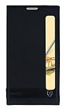 LG Stylus 2 / Stylus 2 Plus Gizli Mıknatıslı Pencereli Siyah Deri Kılıf